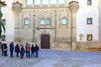 Baeza, Andalusia, Spain: Main facade of the Palace of Jabalquinto de Baeza where some tourists admire the flamingo Gothic style of it.