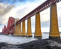 The Forth bridge cantilever railway bridge across the Firth of Forth in Edinburgh.