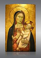 Gothic altarpiece of Madonna and Child by Bernardo Daddi, circa 1340-1345, tempera and gold leaf on wood. National Museum of Catalan Art, Barcelona, S...