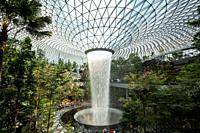 Singapore, Republic of Singapore, Asia - View of the Forest Valley with indoor waterfall inside the new Jewel Terminal at Changi Airport, designed by ...