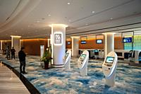 Singapore, Republic of Singapore, Asia - View of the Fast check-in area inside the new Jewel Terminal at Changi Airport.