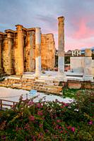 Remains of Hadrian's Library in the old town of Athens, Greece. .