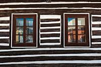 Windows of a traditional house in Mosovce village, northern Slovakia. .