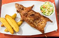 Cuy ( cooked Guinea pig), typical andean dish.