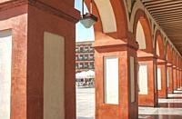 Grand 17th-century Corredera Square, Cordoba, Spain. Shopping and restaurants arcades.