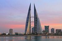 Bahrain World Trade Center at Sunset, Manama, Bahrain.