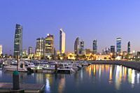 Kuwait City at Dusk, Kuwait.