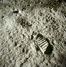 EARTH, THE MOON, Sea of Tranquility -- 20 Jul 1969 -- A close-up view of an astronaut's bootprint in the lunar soil, photographed with a 70mm lunar su...