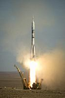 Baikonur Cosmodrome, Kazakhstan. 07 November, 2013. Winter Olympics torch in space. . . The Soyuz TMA-11M rocket is launched with Expedition 38 Soyuz ...