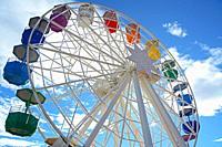 Big Wheel in the Tibidabo Amusement Park, Collserola mountain range, Barcelona, Catalonia, Spain, Europe.