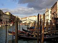 Rialto bridge on Grand Canal, Venice, Italy.