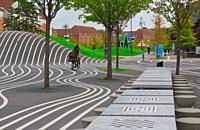Outdoor games and chess tables, Superkilen public park, Norrebro, Copenhagen, Denmark, Scandinavia. Superkilen is a public park, part of an urban impr...