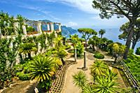 View from garden of Villa Rufolo, Ravello, Amalfi Coast, province of Salerno, Campania, Italy, Europe.