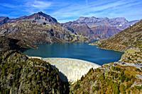Emosson dam and water reservoir, Barrage d'Emosson, aerial shot, Finhaut, Valais, Switzerland.