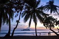 Sunset through the palm trees on Espadilla Norte Beach, Manuel Antonio, Quepos, Costa Rica.