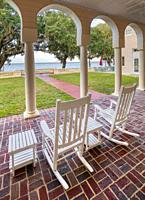 Porch at Capernaum Lakeside Lodge also Capernaum Inn Retreat Center built in 1925 in Lake Wales Polk County Floridda in the United States.