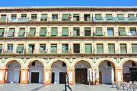 Grand 17th-century Corredera Square, Cordoba, Spain. Balconied apartments.