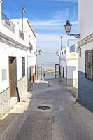 Sloping narrow street of Montilla, Cordoba, Spain. Home to the sweet wines of the Montilla-Moriles.
