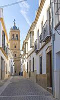 Parish of Santiago Apostle Church tower, Montilla, Spain. Gothic-Mudejar style.