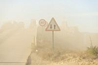 Sand storm. Almansa. Albacete. Castile-La Mancha. Spain.