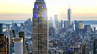 Skyline of Manhattan at duk, New York City aerial view.