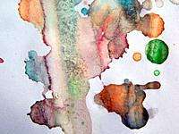 Watercolor illustrations drawn paints on white paper background.