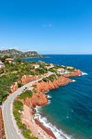 Rocky coastline, Le Trayas, Var, Provence-Alpes-Cote d`Azur, France, Europe.