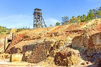 View of the ruins of the Peña del Hierro mine in Riotinto, Andalusia, Spain.