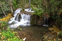 Waterfalls in Río Dulce. Aragosa. Parque Natural Barranco del Río Dulce. Guadalajara Province, Castile-La Mancha, Spain.