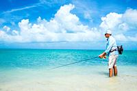 Tropical shallow water fly fishing for bonefish in los roques venezuela.