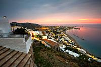 View of Molos village from Chora, Skyros island, Greece. .