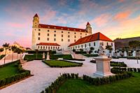 Reconstructed historical baroque garden in Bratislava castle complex, Slovakia. .