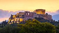 Morning view of Acropolis from Pnyx in Athens, Greece. .
