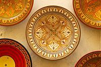 Souvenir plates Medina old town Essaouira central Morocco.