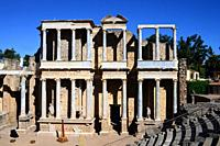 Roman Theatre of Merida, constructed in the years 16 to 15 BCE and promoted by the consul Vipsanius Agrippa in the Roman city of Emerita Augusta, capi...