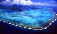 French Polynesia: Helicopter flight and airshot from Bora Bora Island.