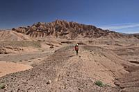 Trekking through amazing desert landscape in the Valle Marte, San Pedro de Atacama, Chile.