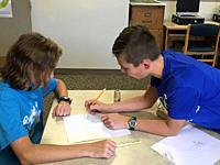 7th Grade Students Working Together on Art Project, Wellsville, New York, USA.