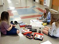 7th Grade Girls Working on Project, Wellsville, New York.