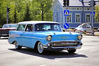 Salo, Finland. May 18, 2019. Turquoise Classic Chevrolet among ca 450 vintage cars gathering to Salo market square for Salon Maisema Cruising 2019. Cr...