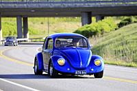 Salo, Finland. May 18, 2019. Classic royal blue 1970s Volkswagen Beetle, or Type 1 on road on the popular annual event Salon Maisema Cruising 2019. Cr...