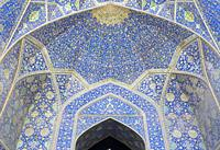 The vault of the entrance to the east Iwan, Masjed-e Shah, or Masjed-e Imam mosque, Esfahan, Iran.