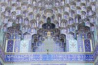 Muqarnas decoration at the entrance Masjed-e Shah, or Masjed-e Imam mosque, Esfahan, Iran.