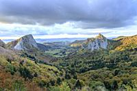 France, Puy de Dome, Volcans Auvergne Regional Natural Park, the Monts Dore, Orcival and Rochefort Montagne, Fontsalade valley, Tuiliere (left) and Sa...