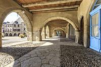 France, Aveyron, Sauveterre de Rouergue, labelled Les Plus Beaux Villages de France (The Most Beautiful Villages of France), covered passage around th...