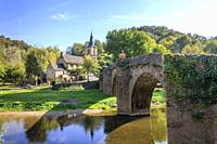 France, Aveyron, Belcastel, labelled Les Plus Beaux Villages de France (The Most Beautiful Villages of France), the old stony bridge(the Vieux Pont) d...
