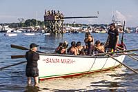 USA, New England, Massachusetts, Cape Ann, Gloucester, Saint Peters Fiesta, Traditional Italian Fishing Community Festival, Seine Boat rowing competit...