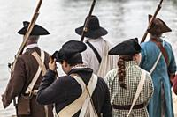 USA, New England, Massachusetts, Cape Ann, Gloucester, re-enactors of the Battle of Gloucester, August 8-9, 1775, battle convinced the Americans of th...