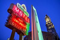 USA, New England, Massachusetts, Boston, antique neon signs along The Greenway, dusk.