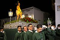 Holy Week procession, white village Mijas Pueblo. Malaga province, Costa del Sol. Andalusia, Spain. Europe.